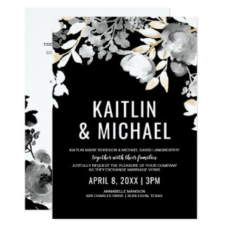 Floral Evening Wedding Invitation (Black & Gold)