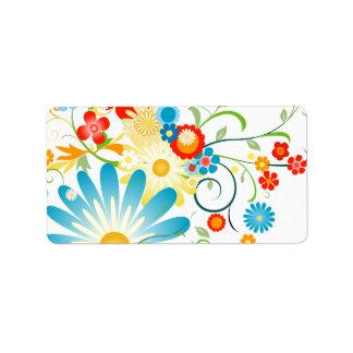 Floral explosion of color address label