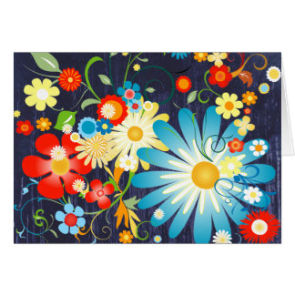 Floral Explosion of Color on Blue Greeting Card