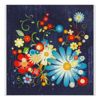 Floral Explosion of Color on Blue Poster