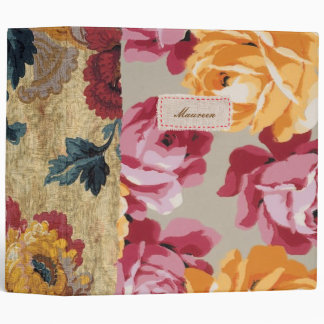 Floral Fabric Patchwork (Gold) Personalized Binder