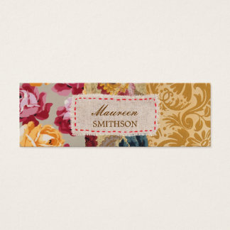 Floral Fabric Patchwork (Gold) Personalized Mini Business Card