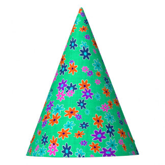 Floral Fabric Seamless Pattern colored Party Hat