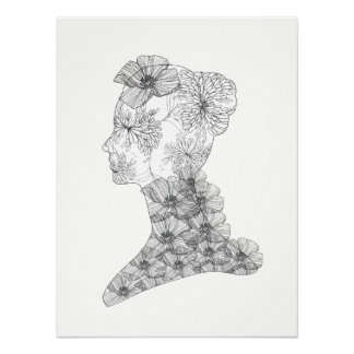 Floral Face Illustration Fashion & Beauty Poster