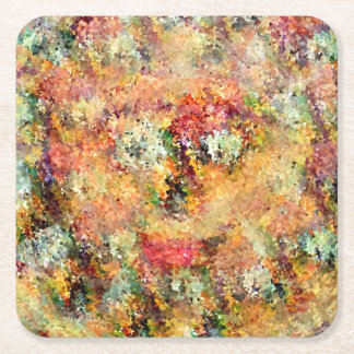 Floral Face Magical Design Square Paper Coaster