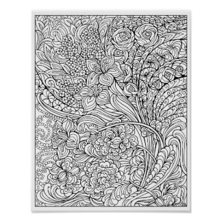 Floral Fancy Coloring Poster