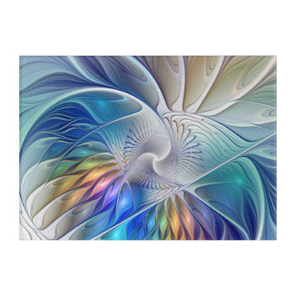 Floral Fantasy, Colorful Abstract Fractal Flower Acrylic Print