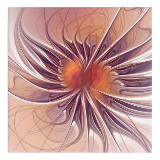 Floral Fantasy, Colorful Abstract Fractal Flower. Acrylic Wall Art