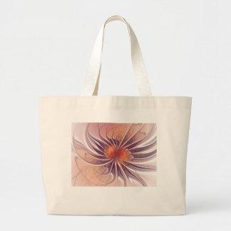 Floral Fantasy, Colorful Abstract Fractal Flower. Large Tote Bag