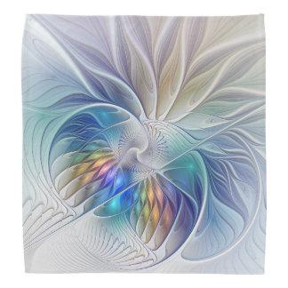 Floral Fantasy, Colourful Abstract Fractal Flower Bandana