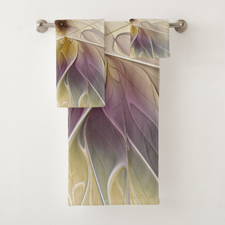 Floral Fantasy Gold Aubergine Abstract Fractal Art Bath Towel Set