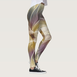 Floral Fantasy Gold Aubergine Abstract Fractal Art Leggings