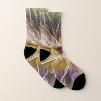 Floral Fantasy Gold Aubergine Abstract Fractal Art Socks