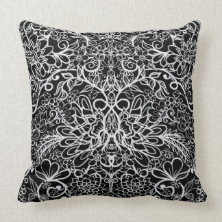 Floral Fantasy   Hand Drawn Flowers Throw Pillow