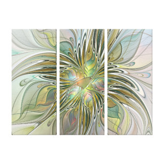 Floral Fantasy Modern Flower With Gold Triptych Canvas Print
