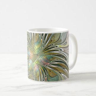 Floral Fantasy Modern Fractal Art Flower With Gold Coffee Mug