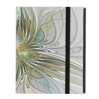 Floral Fantasy Modern Fractal Art Flower With Gold iPad Case