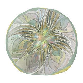 Floral Fantasy Modern Fractal Art Flower With Gold Pouf