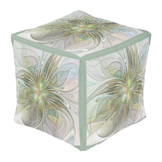 Floral Fantasy Modern Fractal Art Flower With Gold Pouf