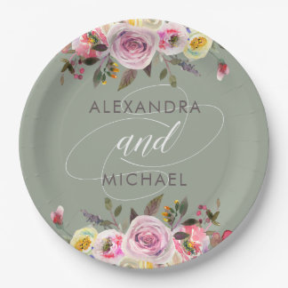 Floral Fantasy | Modern Watercolor Wedding Paper Plate