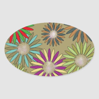 Floral Fantasy Oval Sticker