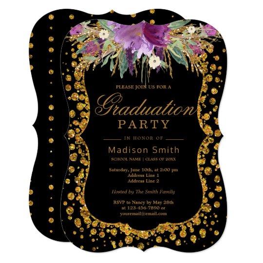 Floral Faux Gold Sparkle Confetti Graduation Party Card