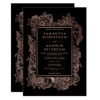 Floral faux rose gold frame black wedding card