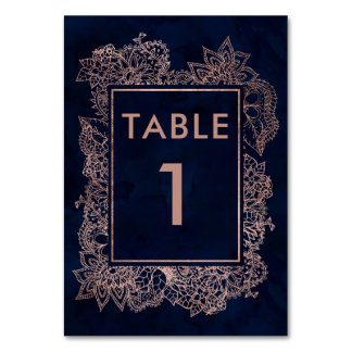 Floral faux rose gold navy blue watercolor table card