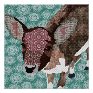 Floral Fawn Art Poster