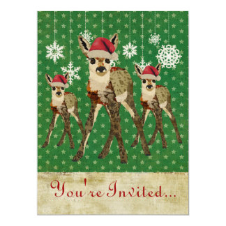 Floral Fawn Green Starry Holiday Invitation