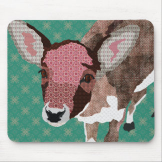 Floral Fawn Turqoise Mousepad