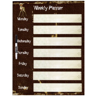 Floral Fawn Weekly Planner Dry Erase Board