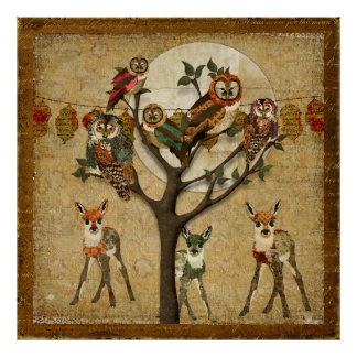 Floral Fawns & Owls Forest Festivity Poster