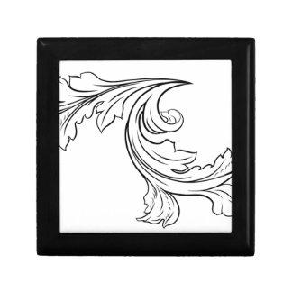 Floral Filigree Pattern Scroll Design Gift Box