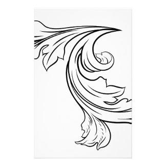Floral Filigree Pattern Scroll Design Stationery
