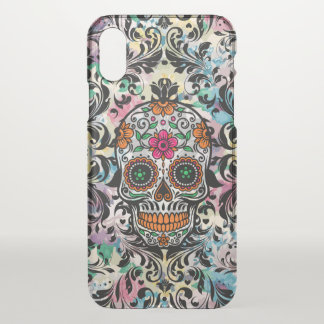 Floral Floral Sugar Skull With Black Swirls iPhone X Case