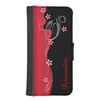 Floral Florid Deep Red Design iPhone SE/5/5s Wallet Case