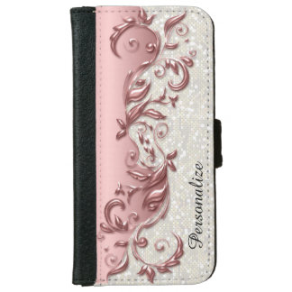 Floral Florid Rose Metallic White Confetti iPhone 6 Wallet Case