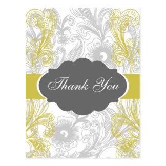 floral flourish gray and yellow Wedding Postcard