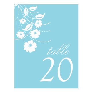 Floral Flourish Table Numbers (Pale Sky Blue) Postcard