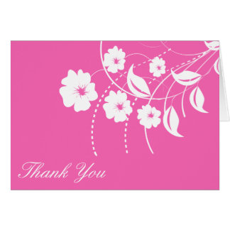 Floral Flourish Thank You Notecard (Dark Pink)