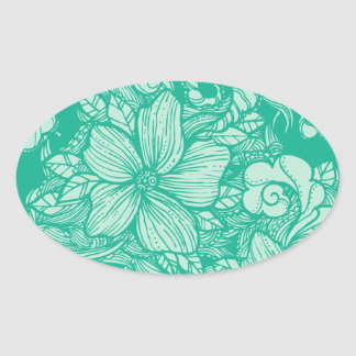 Floral Flow- Teal- Oval Sticker