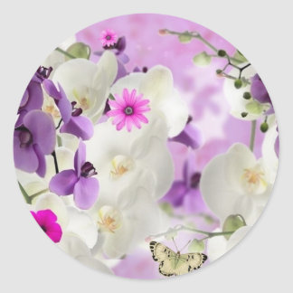 floral flower blossoms vines orchids  plant bloom classic round sticker