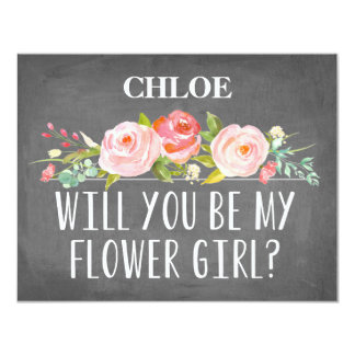 "Floral Flower Girl Card 4.25"" X 5.5"" Invitation Card"