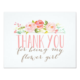 """Floral Flower Girl Thank You 4.25"""" X 5.5"""" Invitation Card"""