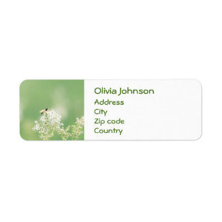 Floral Flower Green Bee Return Address Label