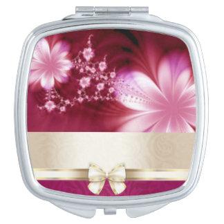 Floral Flower Ribbion Botanical Pattern Print Travel Mirror