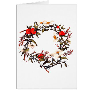 Floral Flower Wreath Plants Botanical Card
