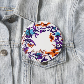 Floral Flower Wreath Plants Botanical Horticulture 4 Inch Round Button