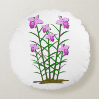 Floral Flowers Custom Personalize Anniversaries Round Pillow